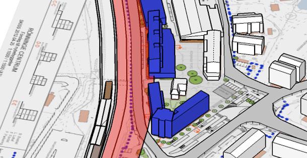 Trafikverket påtalar återigen i sin remiss att avståndet mellan järnvägsspår och bostadshus är för litet. Det röda fältet markerar de obligatoriska 30 meter som Trafikverket vill se som säkerhetsavstånd.