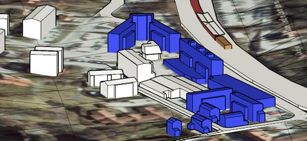 Den här skissen visar Salems kommuns plan för nya Rönninge Centrum. Alla nytillkommande hus är markerat med blått.