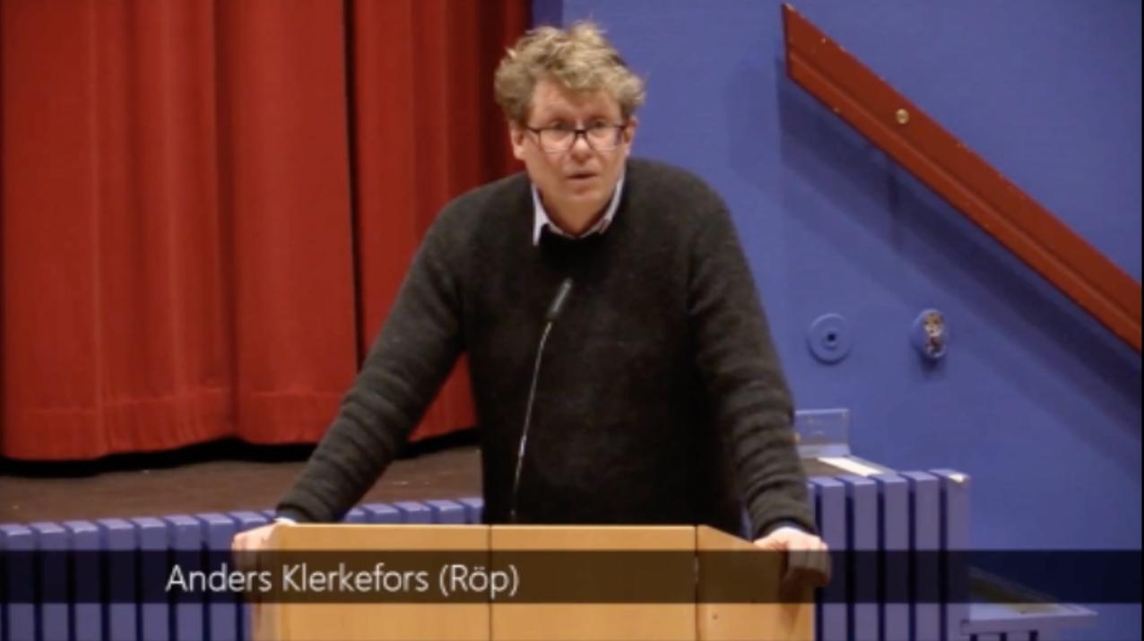 Anders Klerkefors i budgetdebatten i Salems Kommunfullmäktige